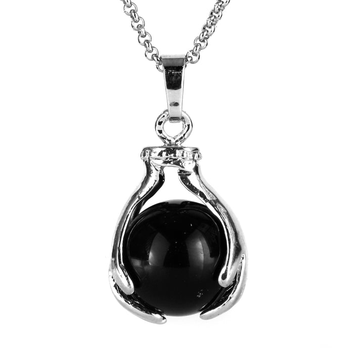 BEADNOVA Healing Natural Black Onyx Gemstone Necklace Crystal Ball Pendant Necklace with Stainless Steel Chain 18""