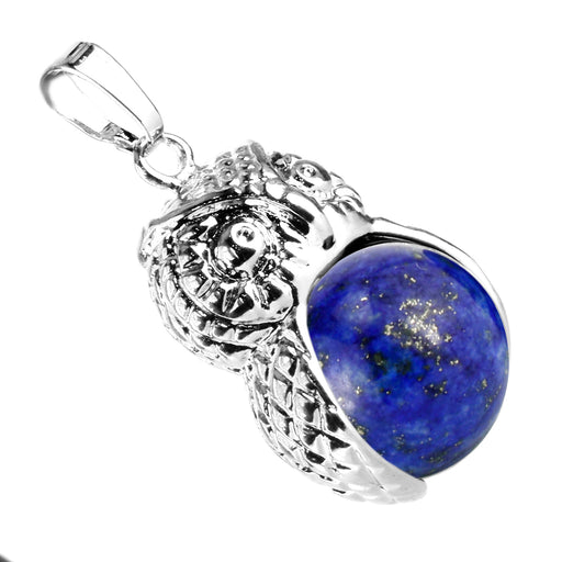 BEADNOVA Vintage Synthetic Lapis Lazuli Gemstone Necklace Crystal Chakra Owl Pendant Necklace Stainless Steel Chain 18""