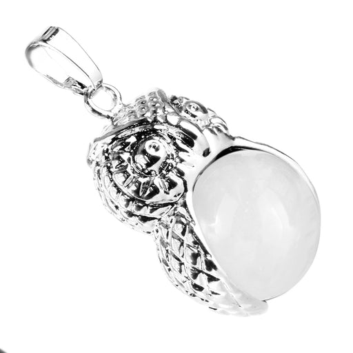 BEADNOVA Vintage Natural Clear White Quartz Gemstone Necklace Crystal Chakra Owl Pendant Necklace Stainless Steel Chain 18""