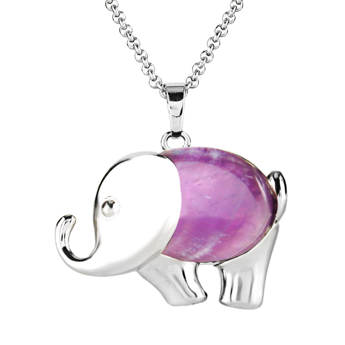 BEADNOVA Silver Plated Amethyst Cute Elephant Gemstone Necklace Healing Crystal Pendant Necklace Stainless Steel Chain 18""