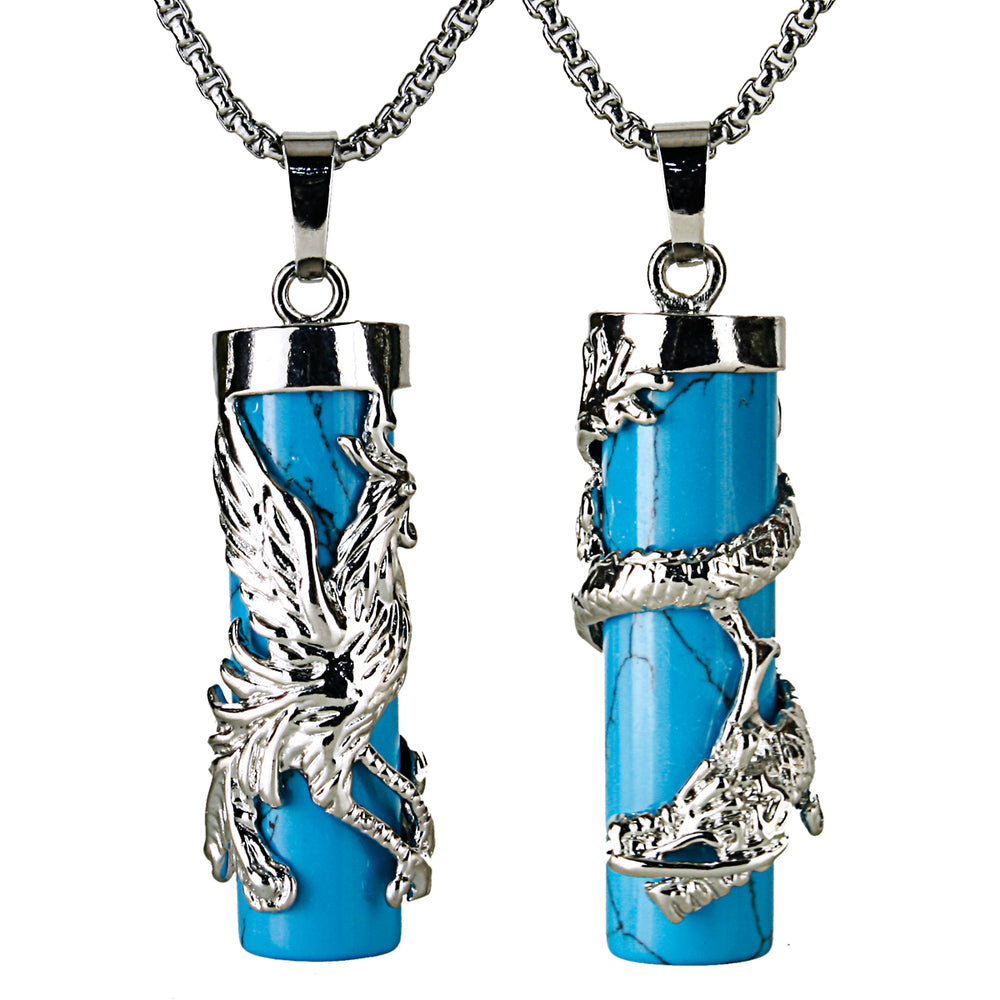 BEADNOVA Couples Necklace 2pcs Dragon Phoenix Wrapped Column Synthetic Blue Turquoise Gemstone Pendant Necklaces for Lover