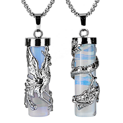 BEADNOVA Couples Necklace 2pcs Dragon Phoenix Wrapped Column Synthetic Opalite Gemstone Pendant Necklaces for Lover