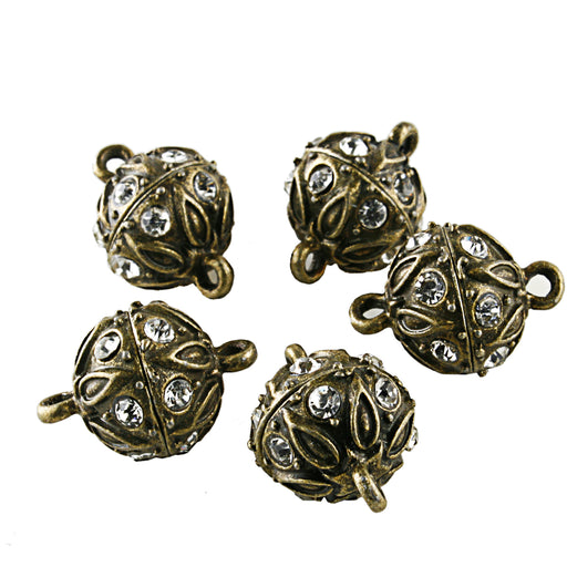 BEADNOVA 5 Pcs Bling Rhinestone Pave Ball Magnetic Beads Clasp Strong Jewelry Clasps Findings for Bracelet Necklace Jewelry Making (Antique Bronze)