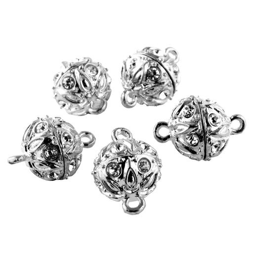 BEADNOVA 5 Pcs Bling Rhinestone Pave Ball Magnetic Beads Clasp Strong Jewelry Clasps Findings for Bracelet Necklace Jewelry Making (Silver Plated)