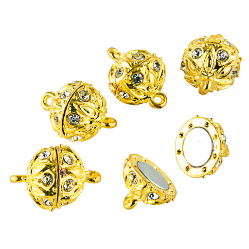 BEADNOVA 5 Pcs Bling Rhinestone Pave Ball Magnetic Beads Clasp Strong Jewelry Clasps Findings for Bracelet Necklace Jewelry Making (Gold Plated)
