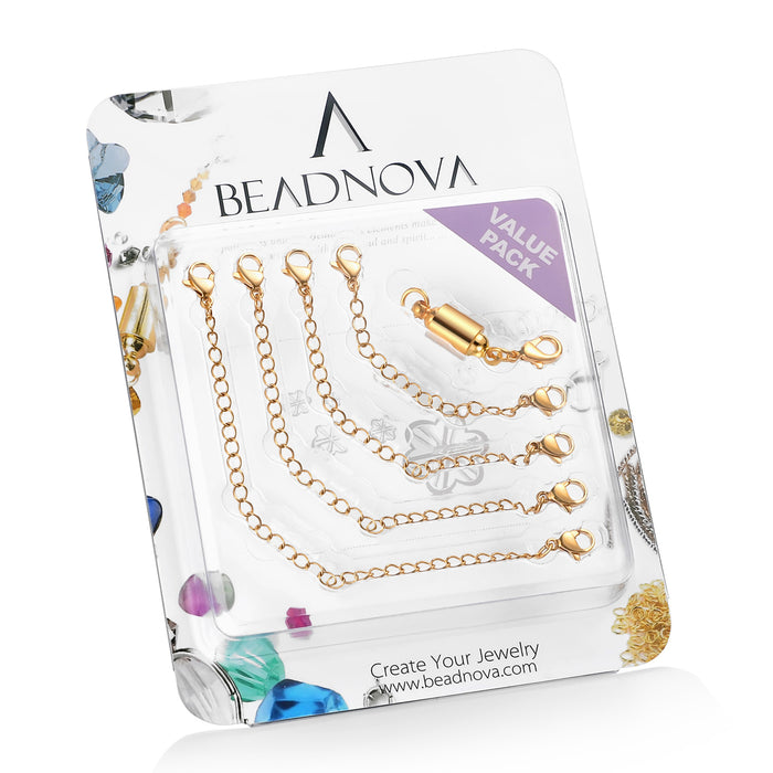 "BEADNOVA Stainless Steel Necklace Extender Bracelet Extender Chain Set 4pcs (3"" 4"" 5"" 6"") with 1pc Magic Magnetic Clever Clasp, Gold Plated Color"