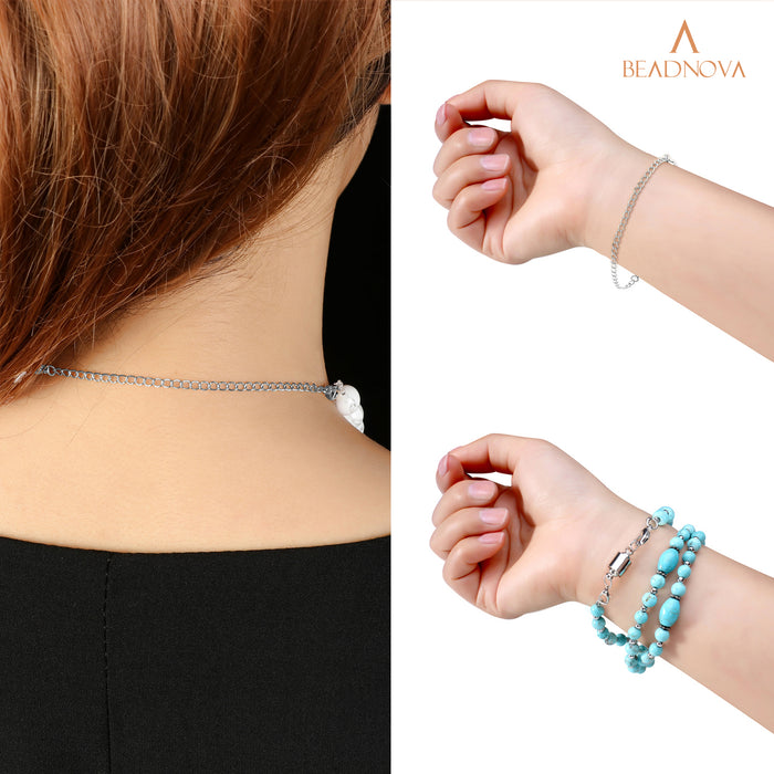 "BEADNOVA Stainless Steel Necklace Extender Bracelet Extender Chain Set 4pcs (3"" 4"" 5"" 6"") with 1pc Magic Magnetic Clever Clasp, Steel Color"