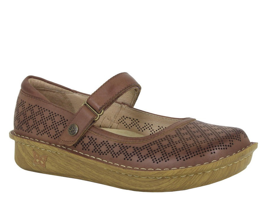 Brown Mary Jane shoe with small circular perforated hole over shoe. Single velcro strap to support foot in shoe.