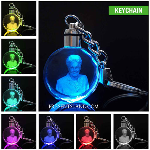 Laser Engraved Crystal Glass with 7 Color Changing Led Lights Keychain