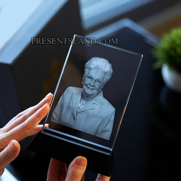 Laser Engraved Crystal Glass Photo with LED Light Base