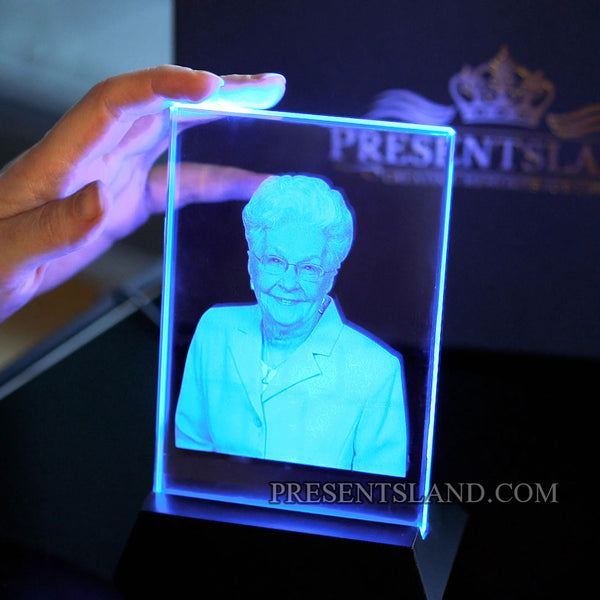 Photo Crystal with LED Light Base