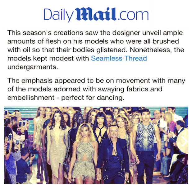 Daily Mail Feature on Seamless Thread and Julien Macdonald LFW Runway Show