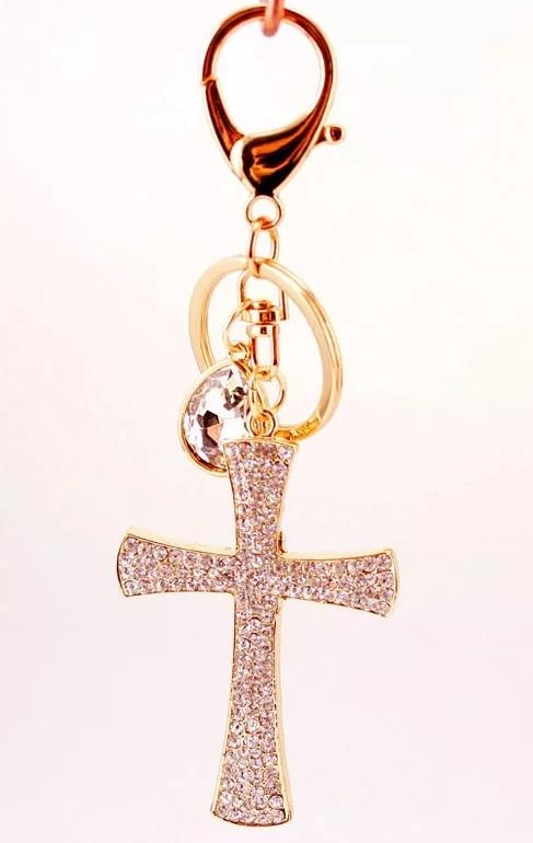 200pcs/lot  rhinestone cross keychain purse hanger baby showers baptism christening favors and return gifts