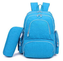 Load image into Gallery viewer, Discover the best crest design waterproof diaper bag backpack travel backpack organizer nappy bags for baby care with changing pad stroller straps and insulated pockets sgs certified safe product deep sky blue