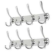 Load image into Gallery viewer, Exclusive baoef coat hat hook metal robe rail rack towel hanger with flared tri hook colset organizer for home entryway office keys scarf jacket backpack wall mounted silver 2 packs