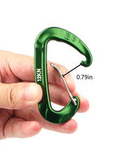 Load image into Gallery viewer, Buy kimjee 12kn wire gate carabiners d shape aircraft grade aluminum clip for keychain hammocks camping hiking backpack dog leash green black 5