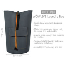Load image into Gallery viewer, Buy wowlive extra large laundry bag laundry backpack hanging laundry hamper adjustable shoulder straps camping bag waterproof durable travel collage apartment dorm sports dark grey