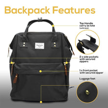 Load image into Gallery viewer, Home baby diaper backpack extra large wide open waterproof baby bag with cushioned shoulder straps and insulated pockets best for travelling parents by necessibaby black