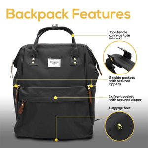 Home baby diaper backpack extra large wide open waterproof baby bag with cushioned shoulder straps and insulated pockets best for travelling parents by necessibaby black