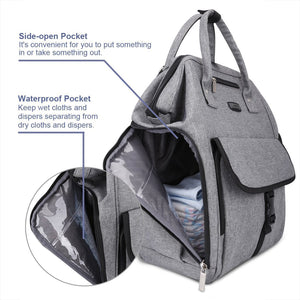Buy now gyssien diaper bag multi function waterproof travel backpack nappy bags for baby care large capacity stylish and durable gray