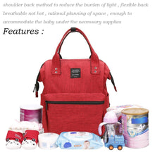 Load image into Gallery viewer, Heavy duty diaper bag large capacity multi function stylish and durable waterproof travel backpack nappy bags for baby care by jewelvwatchro red