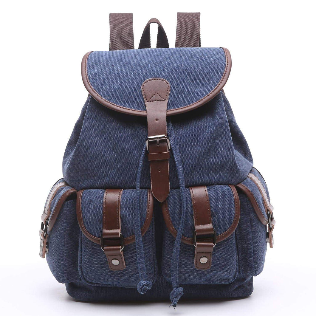 Home women canvas backpack retro travel rucksack leather school backpack for grils hiking daypacks jeans bag casual satchel bookbag