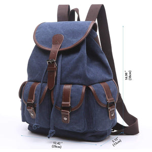 Order now women canvas backpack retro travel rucksack leather school backpack for grils hiking daypacks jeans bag casual satchel bookbag