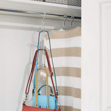 Load image into Gallery viewer, Kitchen interdesign classico hanging organizer for purses handbags satchels backpacks scarves pashminas slings closet accessories 6 hooks chrome set of 1 holder