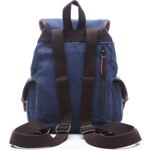 Online shopping women canvas backpack retro travel rucksack leather school backpack for grils hiking daypacks jeans bag casual satchel bookbag