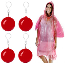 Load image into Gallery viewer, Discover the best emergency rain poncho with hood packaged in plastic keychain ball one size fits all commuter rain poncho survival kit accessory for travel backpacking picnics camping sporting outdoor events 4pk
