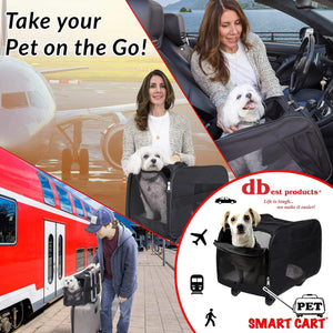On amazon pet smart cart large black rolling carrier with wheels soft sided collapsible folding travel bag dog cat airline approved tote luggage backpack