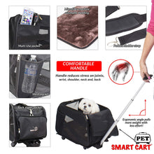 Load image into Gallery viewer, Kitchen pet smart cart large black rolling carrier with wheels soft sided collapsible folding travel bag dog cat airline approved tote luggage backpack