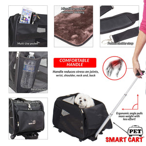 Kitchen pet smart cart large black rolling carrier with wheels soft sided collapsible folding travel bag dog cat airline approved tote luggage backpack