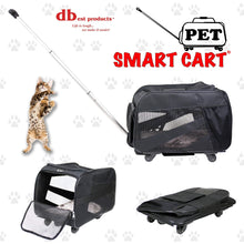Load image into Gallery viewer, Home pet smart cart large black rolling carrier with wheels soft sided collapsible folding travel bag dog cat airline approved tote luggage backpack