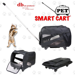 Home pet smart cart large black rolling carrier with wheels soft sided collapsible folding travel bag dog cat airline approved tote luggage backpack