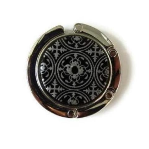 Folding Purse Hanger, Black and Silver with Mandala Pattern, Smooth Surface