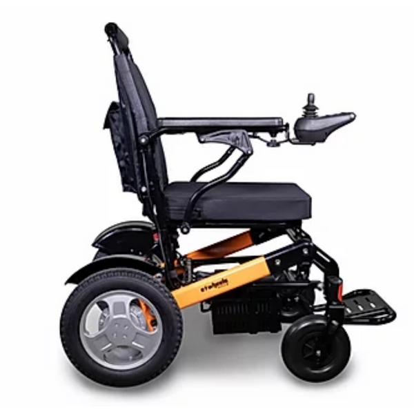 EWheels (EW-M45 Black & Orange) Folding Electric Wheelchair Limited Edition, Travel-Friendly & Ultra Comfortable