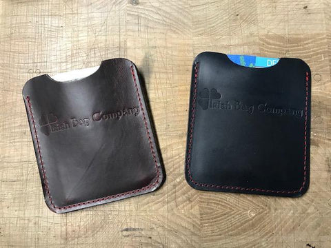 Cash/Card wallets, blue or maroon with red stitching