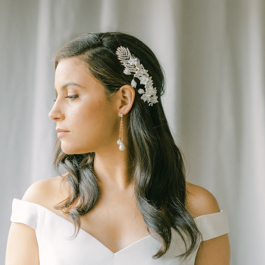 bridal headpiece with clay flowers, bridal hair piece, BLANCHE style 21045