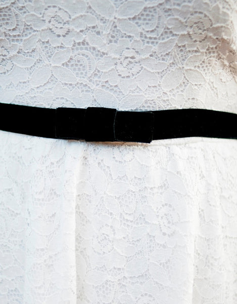 bow stretch velvet belt