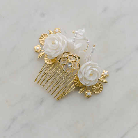 petite blossoms headpiece, wedding hair comb with clay and brass flowers,TENDRESSE style 21012