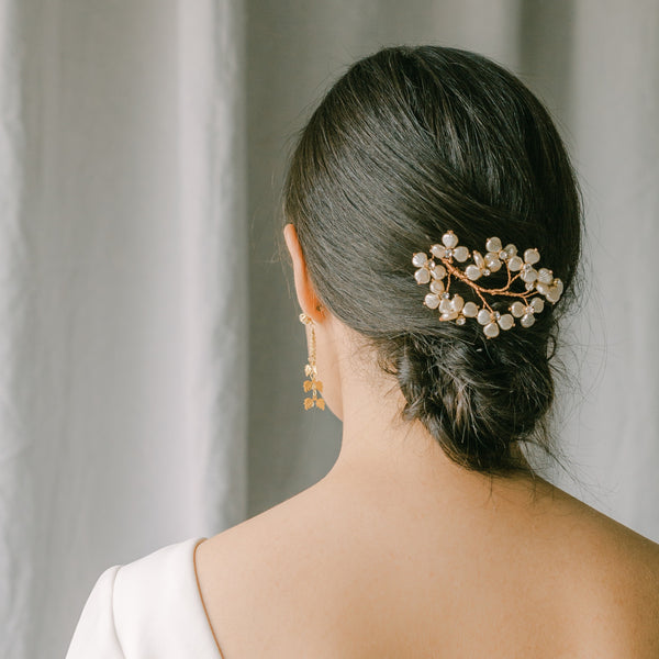 wedding hair comb with hand wired pearls,BISE style 21003