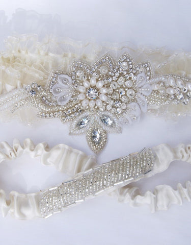 hand beaded unique garter set -ALLY