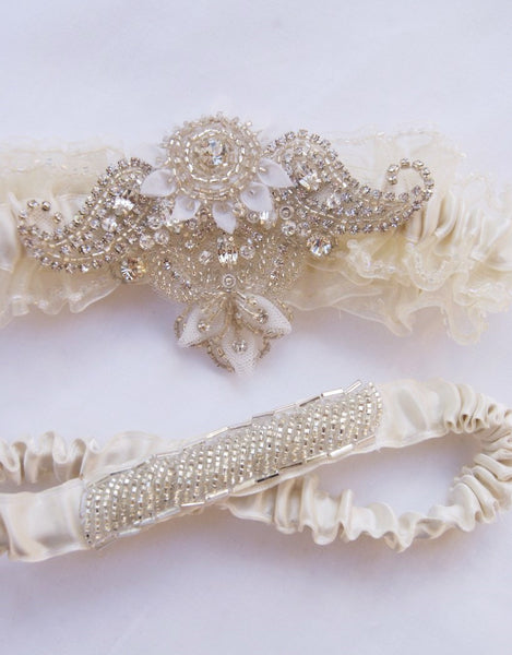 Wedding beaded garter set - BRIANA