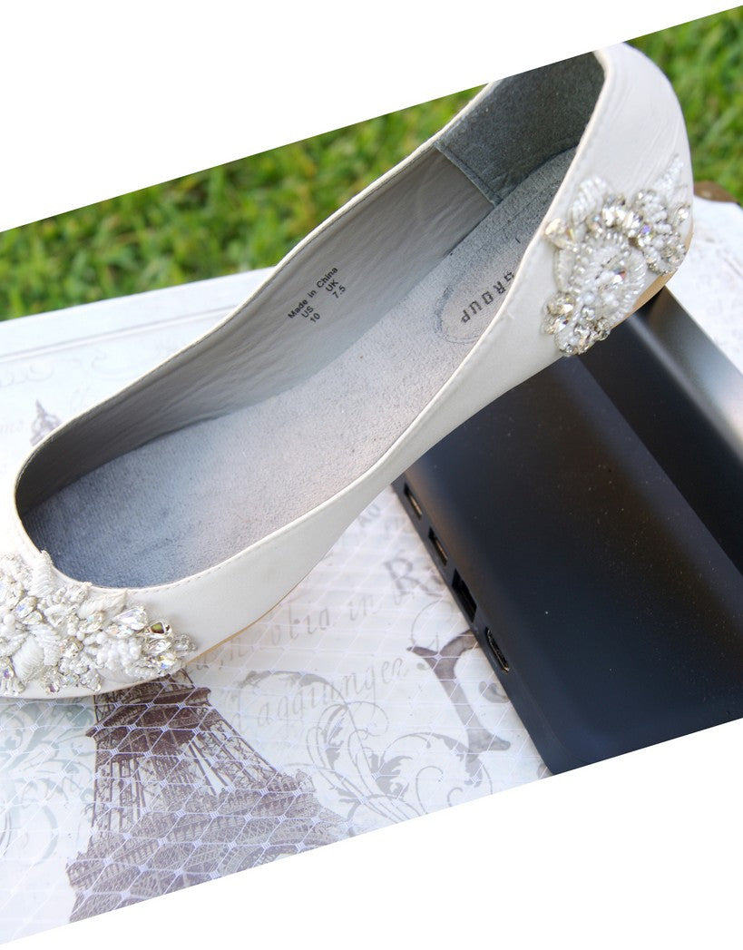 "Bridal flat shoes ""Flavie"""