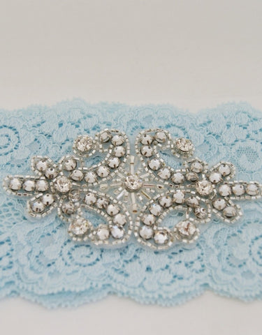 blue lace garter with rhinestone
