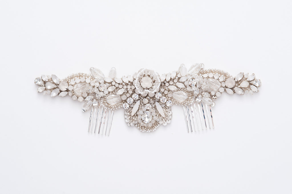 Oversize beaded bridal comb - HP170678 Laurelle