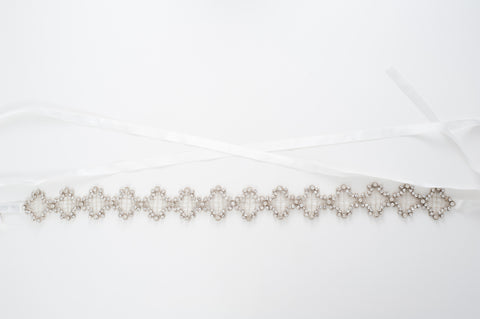 Geometric beaded wedding sash SB170690