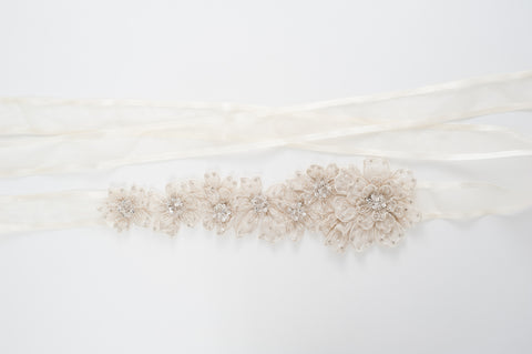 beaded silk flowers wedding sash SB170681