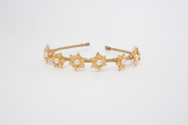 encrusted crystal flowers headband HP170622 Margarette